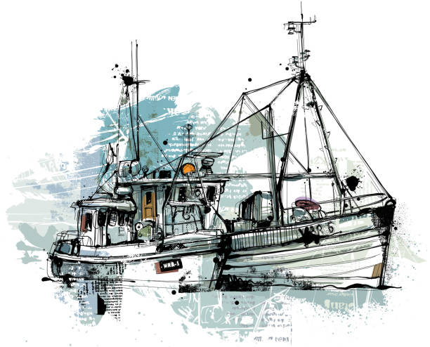 Two Trawlers Two Trawlers with blue Colors, hand drawn Vector image reduced to one layer. Isolated on white background. fishing boat stock illustrations