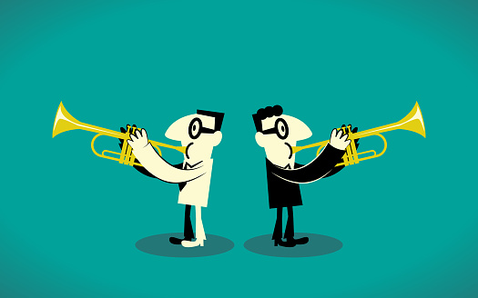 Two Trumpet Player