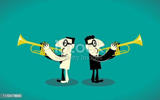 Business Man Characters with Glasses Manga Style Cartoon Vector art illustration. Full Length. Two Trumpet Player.