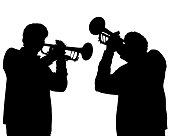 Two trumpeters play at a concert. Silhouettes of musicians on a white background