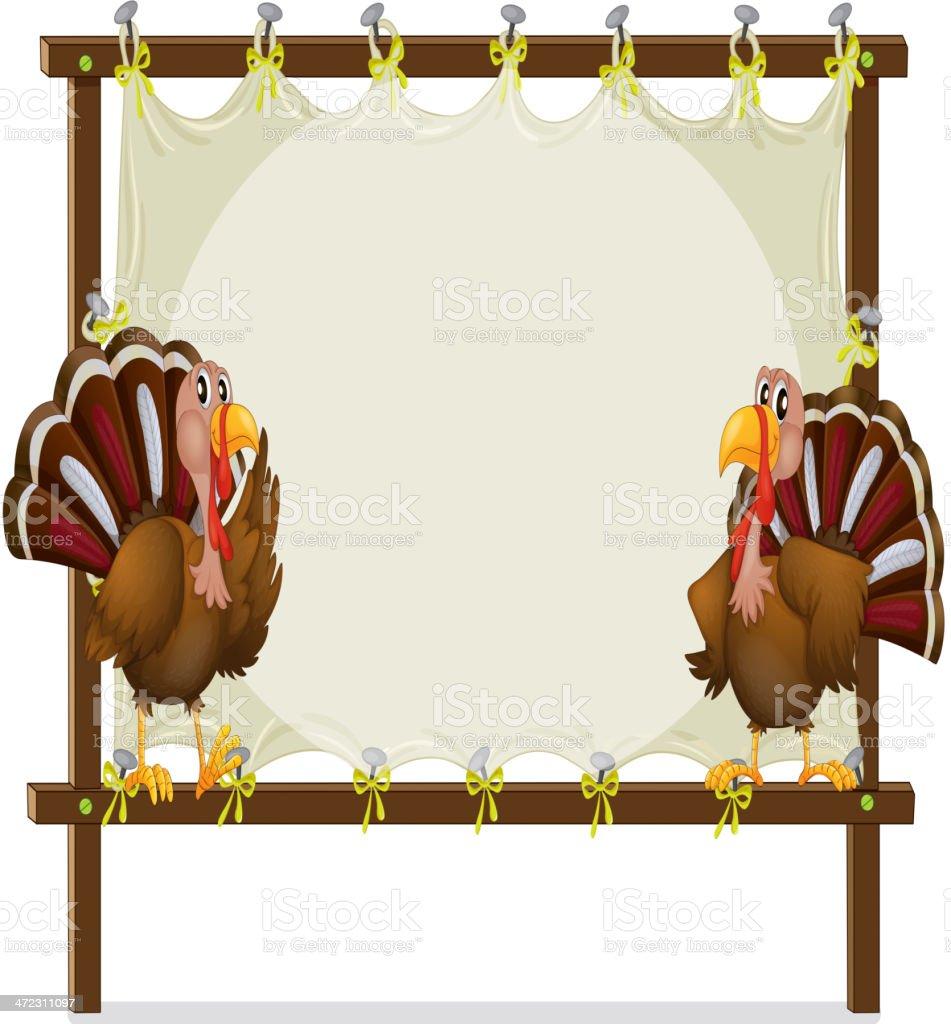 Two turkeys royalty-free stock vector art