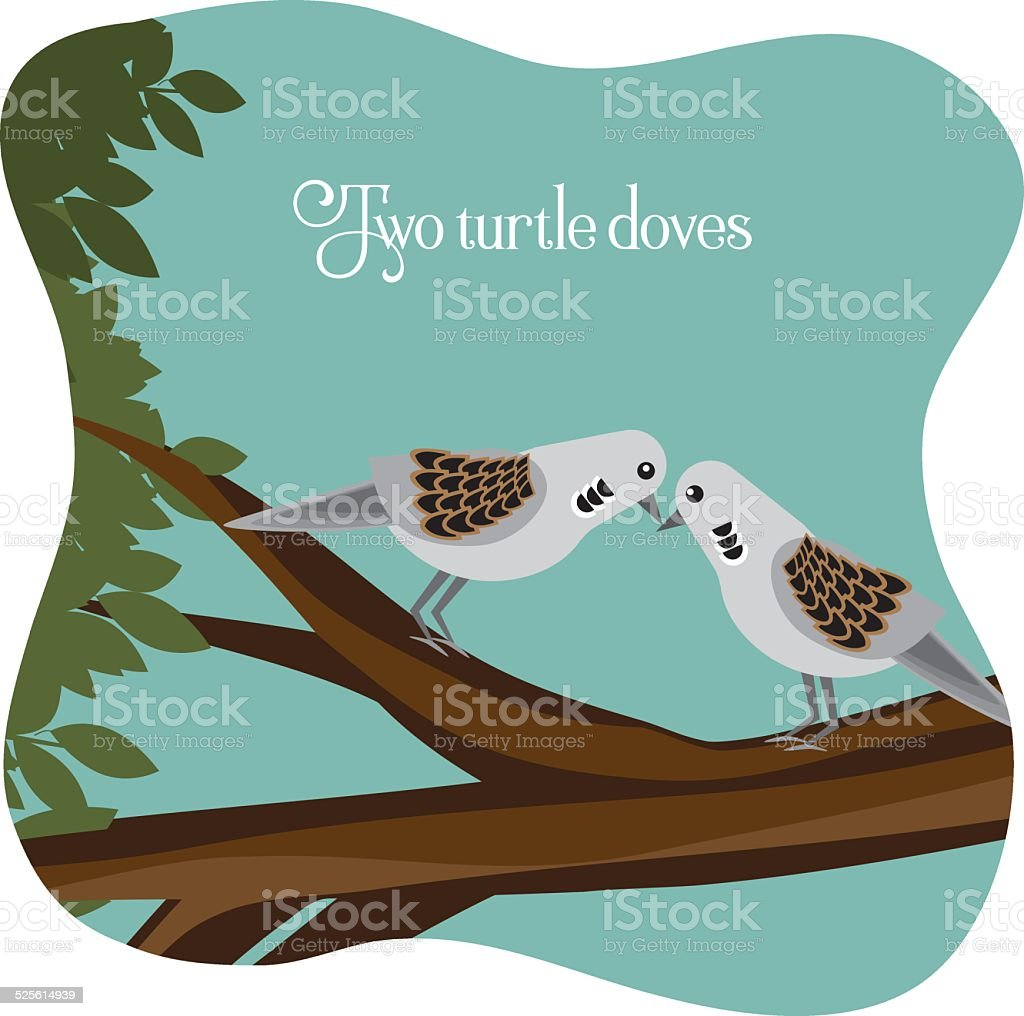 Two turtle doves on a branch vector art illustration