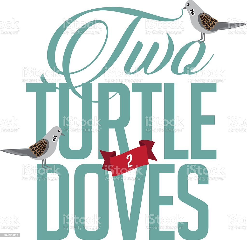 Two turtle doves vector art illustration