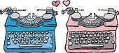 Two typewriters with two hearts between them...