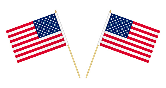 Two US flags isolated on white background, vector illustration. USA flag on pole