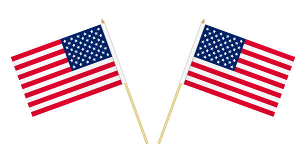 Two US flags isolated on white background, vector illustration. USA flag on pole Two US flags isolated on white background, vector illustration. USA flag on pole. flagpole stock illustrations