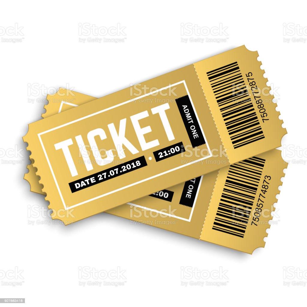 Deux vecteurs or cinéma, film, théâtre, concert, performance, fête, événement, festivals billets - Illustration vectorielle