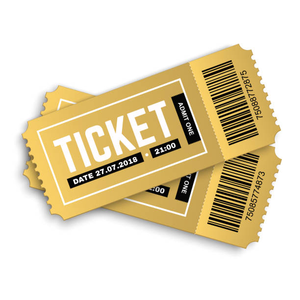 Two vector golden cinema, movie, theatre, concert, performance, party, event, festival tickets Vector golden party ticket isolated on white background. Cinema, theatre,  concert, play, party, event and festival gold ticket realistic template set. Ticket icon for website. movie ticket stock illustrations