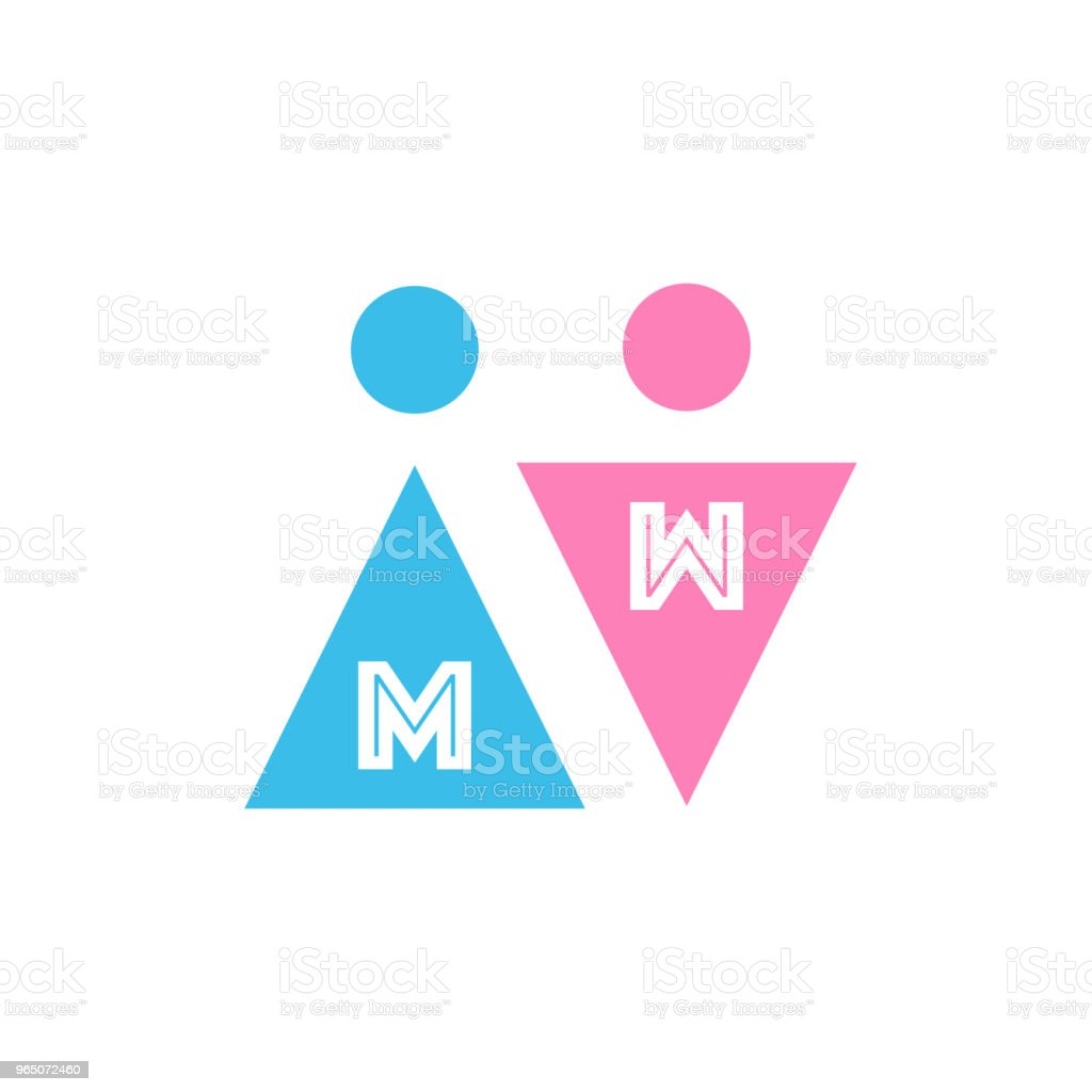 Two Vector Icons with letters. Male and Female Gender Signs. Men and Women. Blue and pink colors. vector illustration isolated on white background. two vector icons with letters male and female gender signs men and women blue and pink colors vector illustration isolated on white background - stockowe grafiki wektorowe i więcej obrazów abstrakcja royalty-free