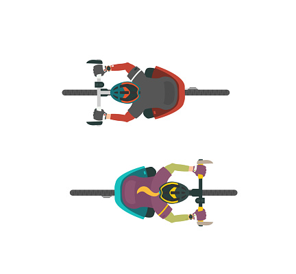 Two vector illustrations of bikers. Man and women on MTB mountain bike. View from above.