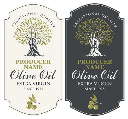 two vector labels for olive oil with an olive tree
