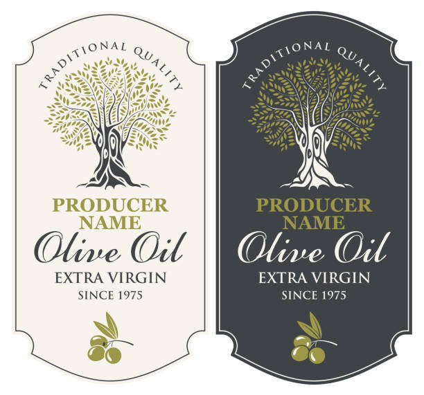 two vector labels for olive oil with an olive tree Vector set of two labels for extra virgin olive oil with handwritten calligraphic inscription, olive tree and olive sprig in figured frame in retro style. olives stock illustrations