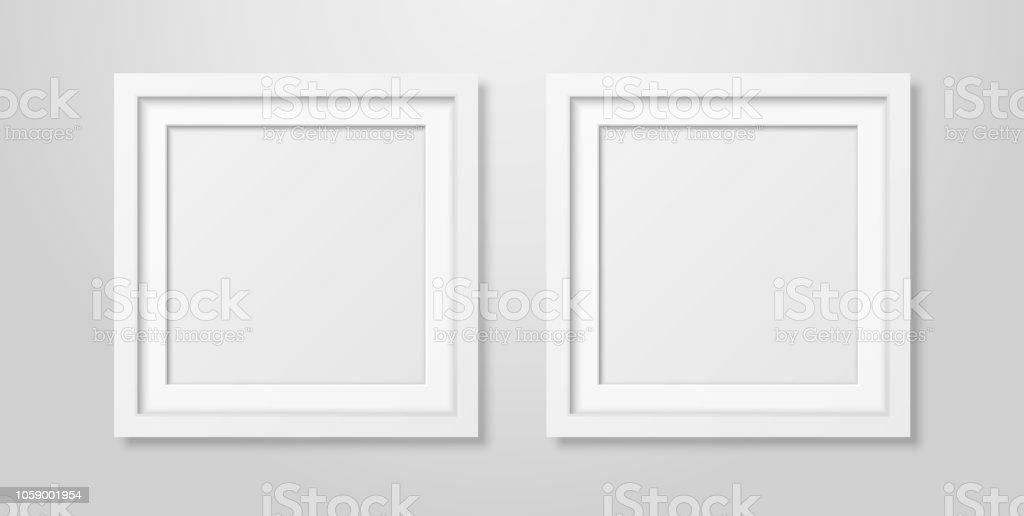 Two Vector Realistic Modern Interior White Blank Square Wooden