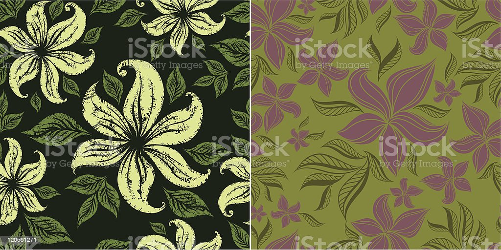 Two vector seamless floral patterns with lilly flower royalty-free two vector seamless floral patterns with lilly flower stock vector art & more images of abstract