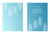 Two vector templates of flyers in blue color. Art with graphic pointer. Modern minimalism art. Abstract ornate.