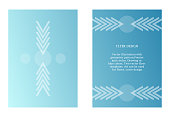 Two vector templates of flyers in blue color. Art with graphic pointer and circles. Modern minimalism art. Abstract ornate.