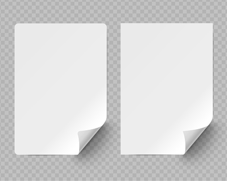Two version of blank sheets of paper with curled corner on transparent background.