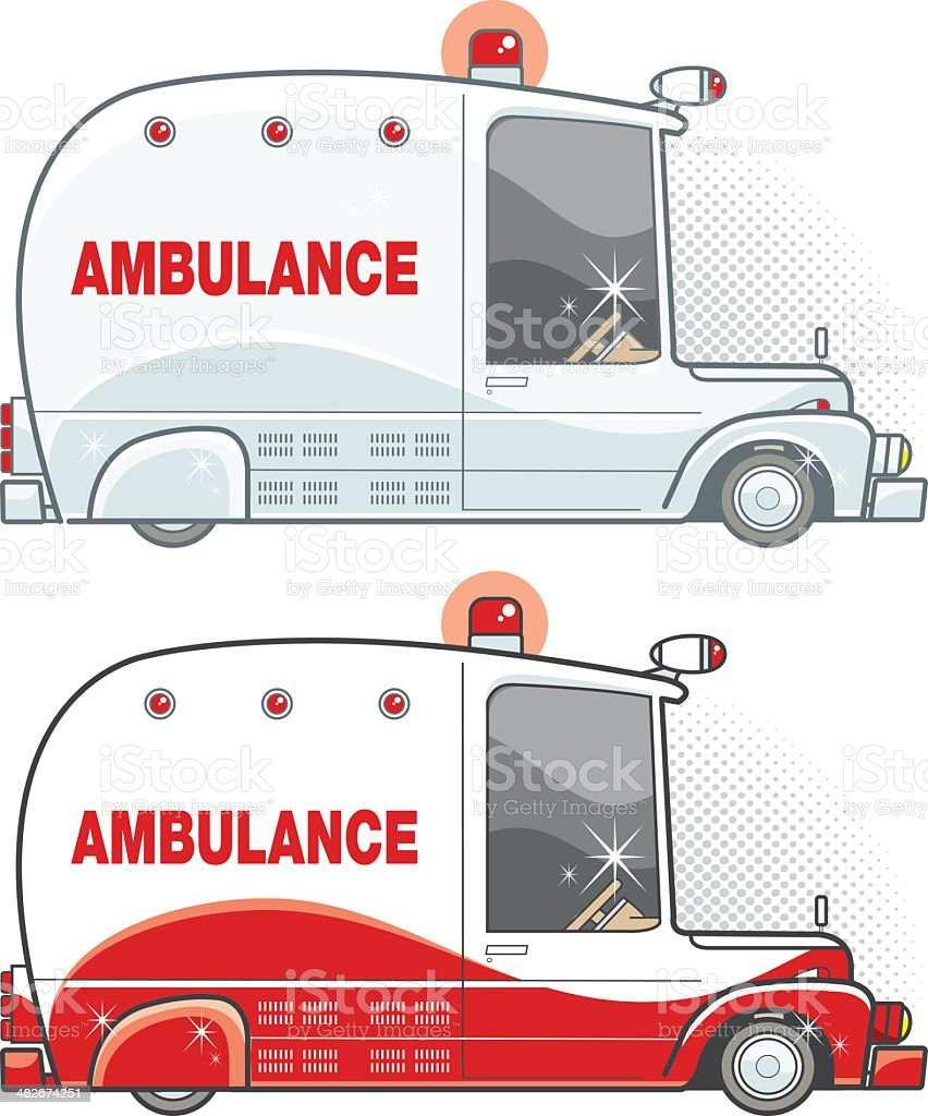 two versions of retro ambulance royalty-free two versions of retro ambulance stock vector art & more images of accidents and disasters