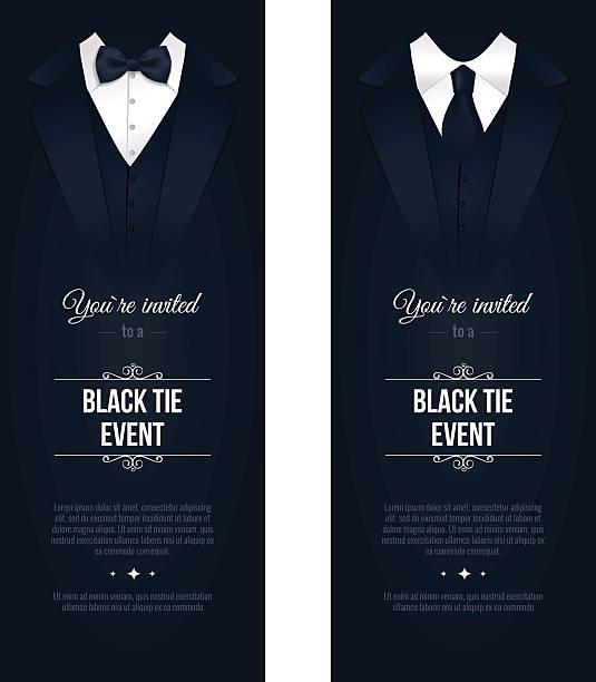 Two vertical Black Tie Event Invitations. – Vektorgrafik