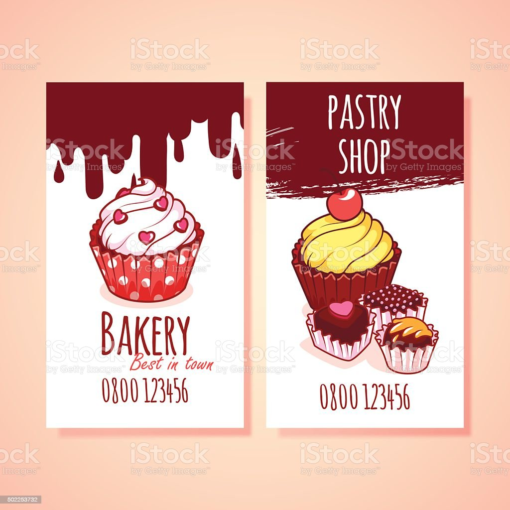 Two Vertical Business Card Template For Pastry Shop Stock Vector Art ...