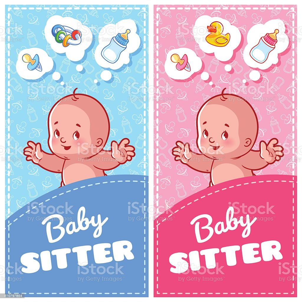 Two vertical flyer of babysitter with cute toddler vector art illustration