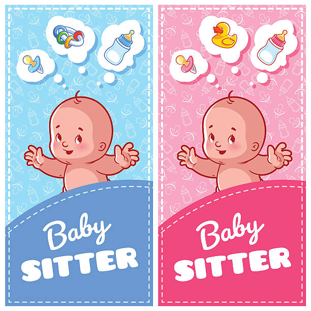 two vertical flyer of babysitter with cute toddler - babysitter stock illustrations, clip art, cartoons, & icons