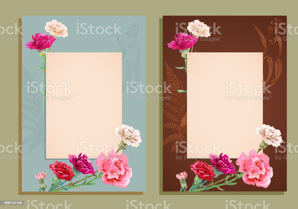 Two Vertical Frame Template For Mothers Day With Carnation Schabaud ...