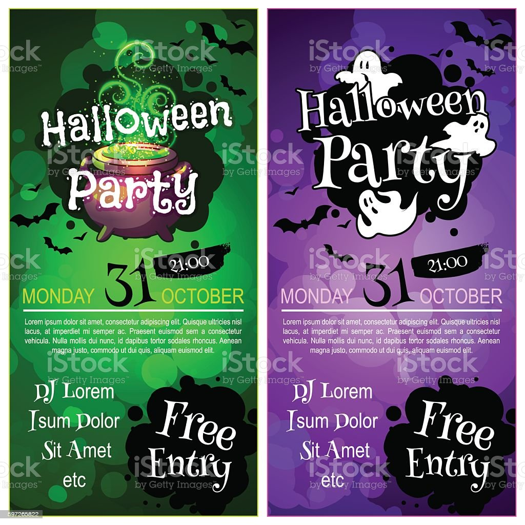 Two vertical orientation flyers for Halloween party. royalty-free two vertical orientation flyers for halloween party stock vector art & more images of advertisement