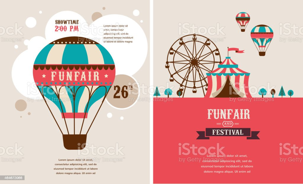 Two vintage carnival posters in pink and teal vector art illustration