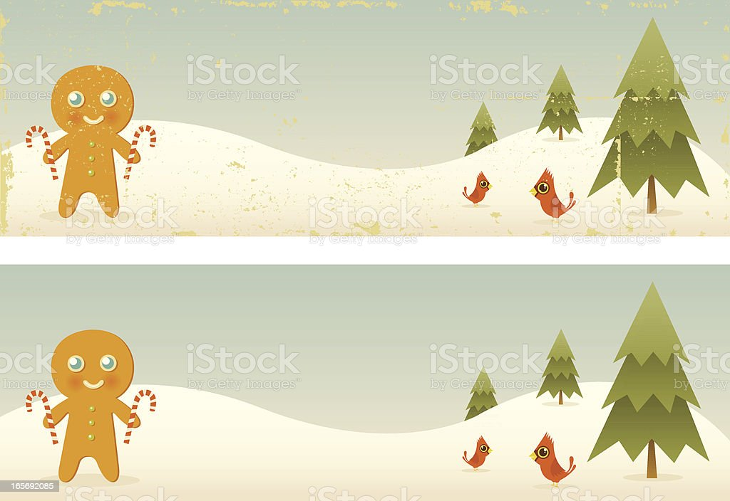 Two Vintage Gingerbread Man Banners royalty-free two vintage gingerbread man banners stock vector art & more images of backgrounds