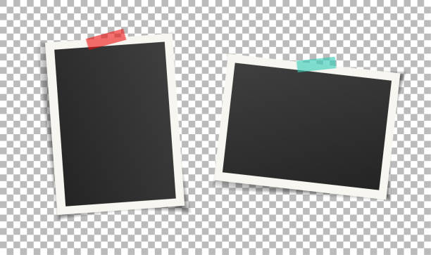 illustrazioni stock, clip art, cartoni animati e icone di tendenza di two vintage photo frames with adhesive tape on transparent background. - foto