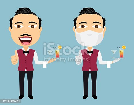 istock Two waiters happy and confused with mask white gloves thumbs up cocktails towel bow tie red vest and black pants 1214685751