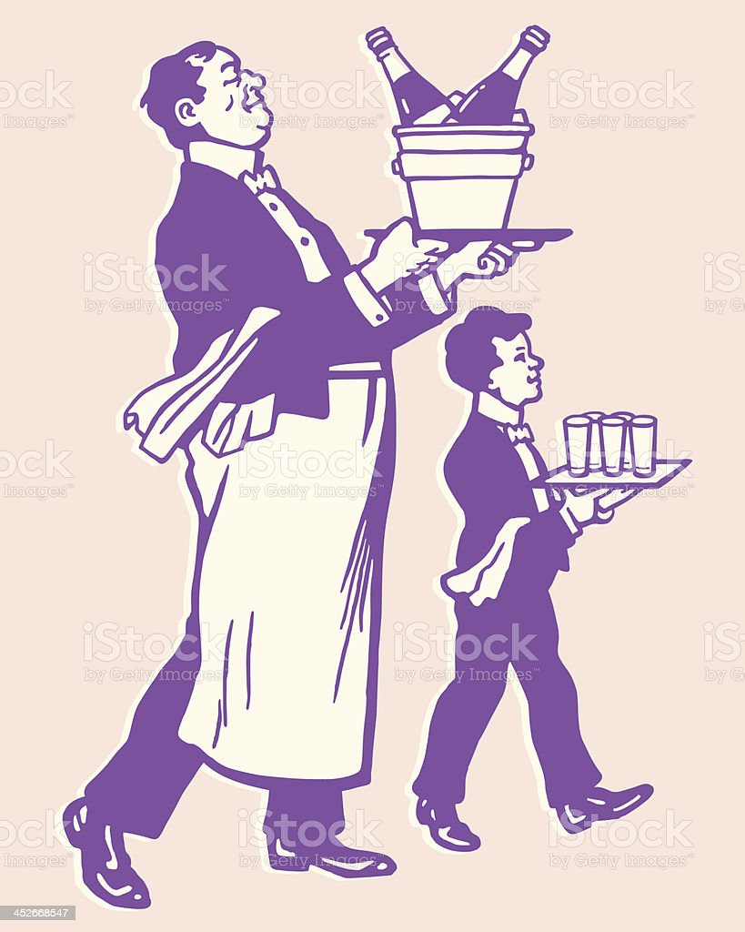 Two Waiters vector art illustration