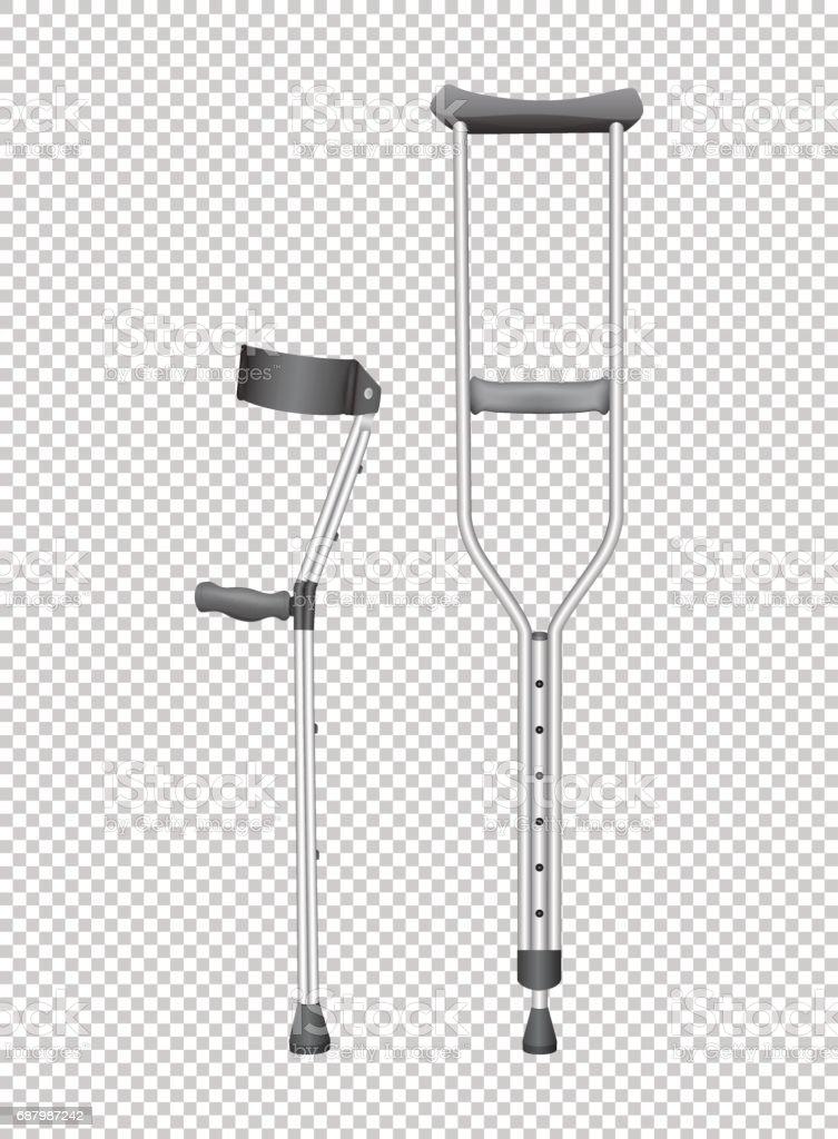 Two walking sticks for handicaped vector art illustration