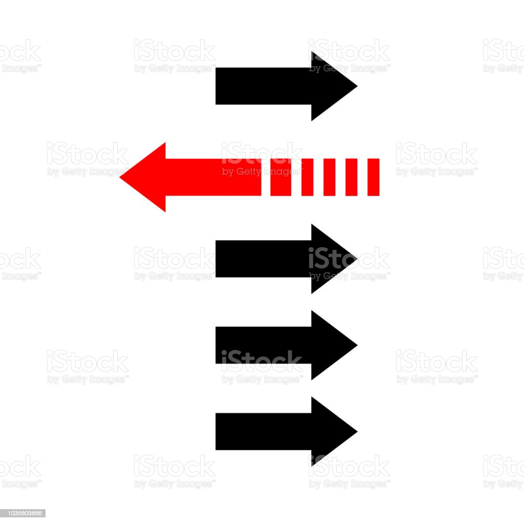 Two way arrows left and right directions opposite. Vector...