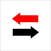 Two way arrows left and right directions opposite. Vector illustration.