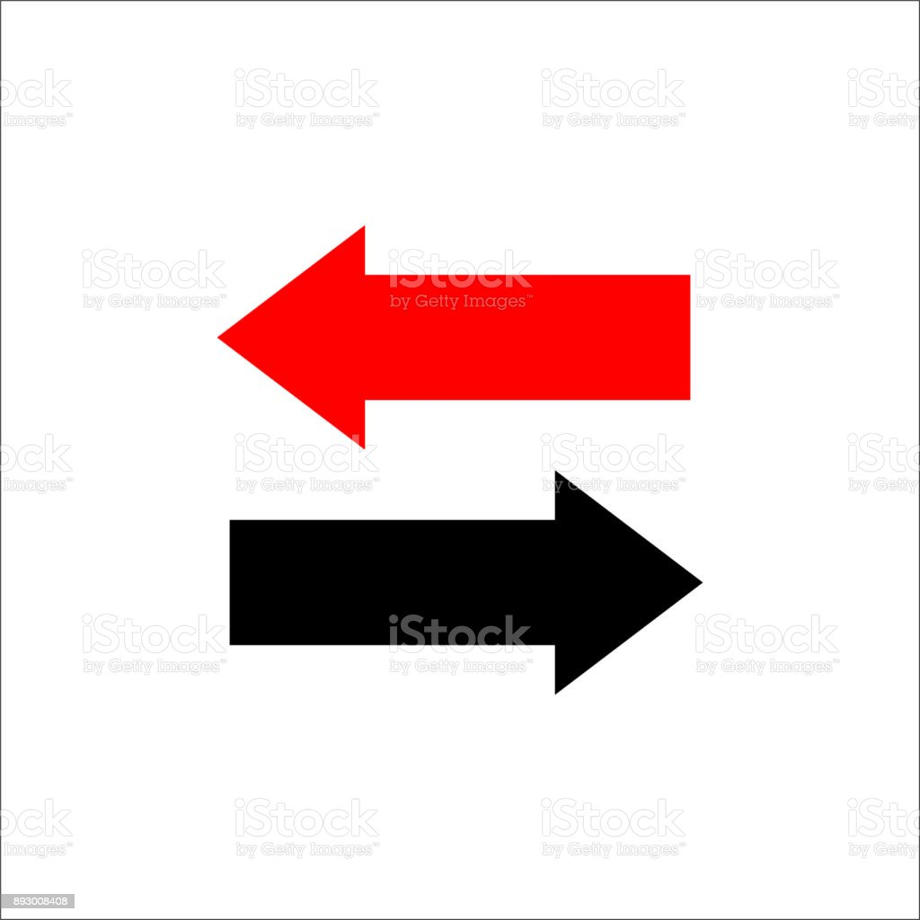 Two way arrows left and right directions opposite. Vector illustration. - illustrazione arte vettoriale