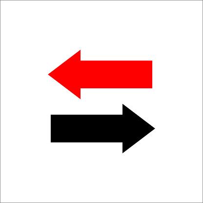 Zwei So Pfeile Links Und Rechts Richtungen Gegenüber Vektorillustration Stock Vektor Art und mehr Bilder von Abstrakt