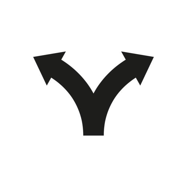 ilustrações, clipart, desenhos animados e ícones de duas setas de direção do caminho. ícone de vetor - dois objetos