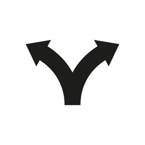 Two way direction arrows. Vector icon Two way direction arrows. Vector icon choice stock illustrations