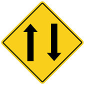 two way traffic ahead sign on white background. flat style. two way traffic sign for your web site design, logo, app, UI. two way warning symbol. traffic sign.