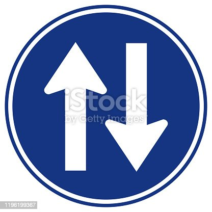 Two Way Traffic Road Sign,Vector Illustration, Isolate On White Background Label. EPS10