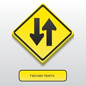 3D Two way traffic sign