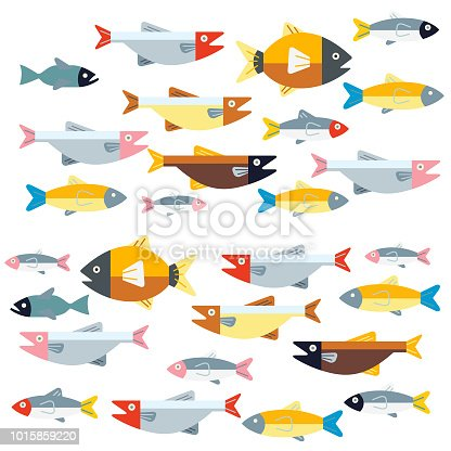 Groups of fish swimming in two directions