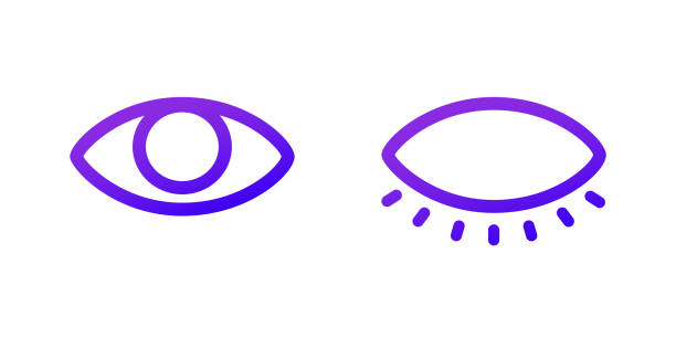 Two web icons Open and closed eye. Purple gradient Two web icons. Open and closed eye. Purple gradient. blinking stock illustrations