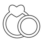 istock Two wedding rings thin line icon. Couple engagement ring with heart shape symbol, outline style pictogram on white background. Valentine day sign for mobile concept, web design. Vector graphics. 1216072947
