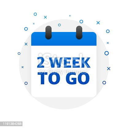 Two week to go offer. Calendar icon. Vector illustration