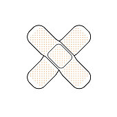 Two white and beige crossed band aid simple vector medicine illustration