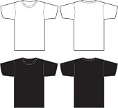 Vector illustration of white t-shirt front and back and a black t-shirt front and back. Great template for a logo or artwork.