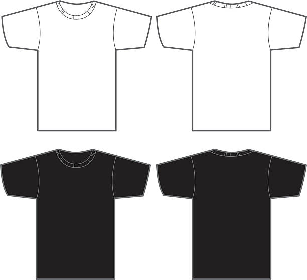 Two white and two black t-shirts Vector illustration of white t-shirt front and back and a black t-shirt front and back. Great template for a logo or artwork. t shirt stock illustrations